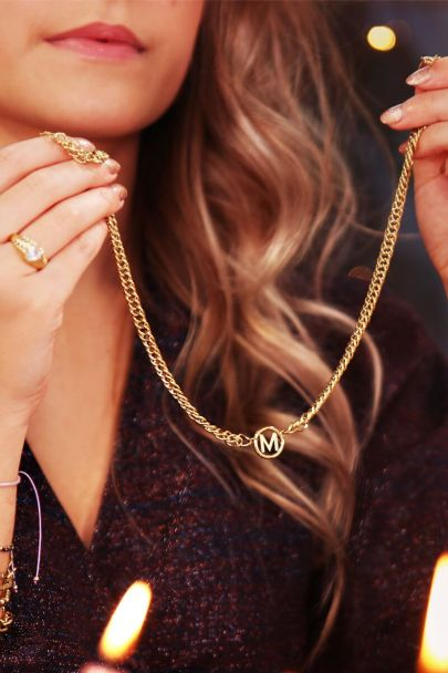 Necklace with chunky initials
