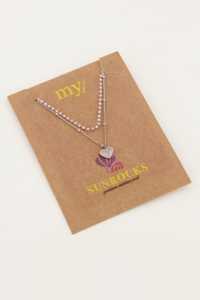 Pink double bead necklace with heart