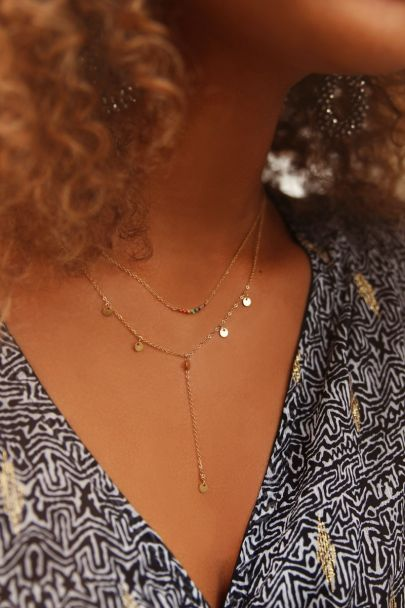 Necklace Y shape coins