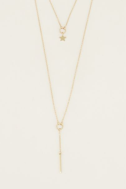 Dubbele ketting staafje ster | Sterren ketting My Jewellery