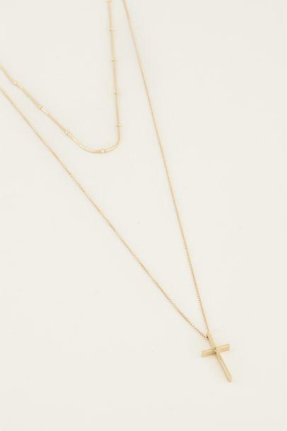 Doppelte Halskette Kreuz | Halskette mit Kreuz My Jewellery