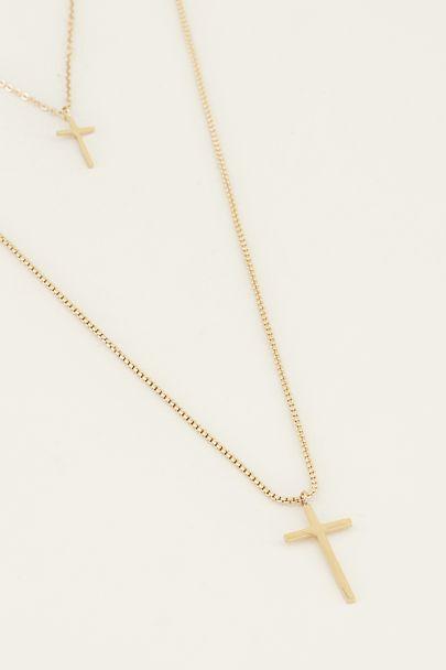 Dubbele ketting kruisjes | Ketting met kruis bij My Jewellery