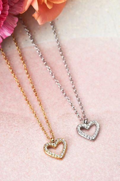 Necklace open heart stones