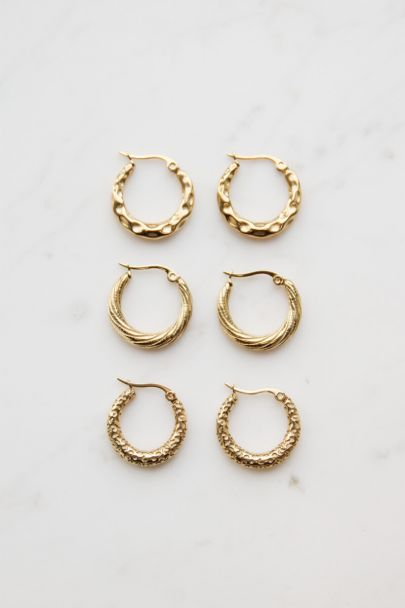 Small hoop earrings patterned