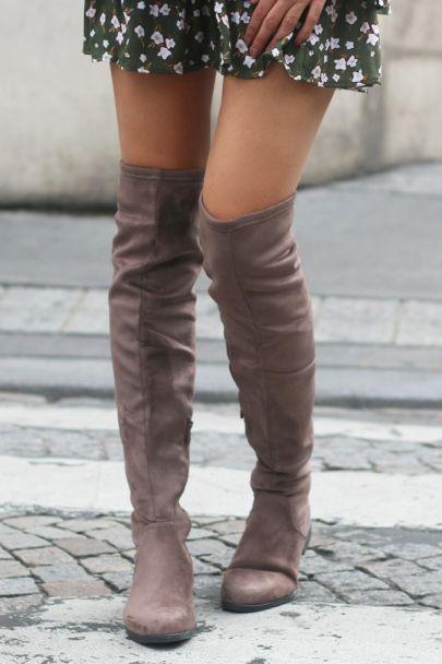 Overknee laarzen taupe