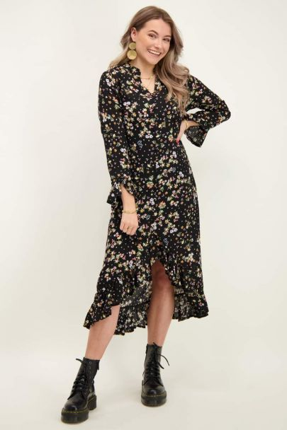 Black dress with floral print & ruffles