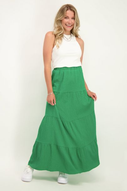Groene maxi rok met lagen
