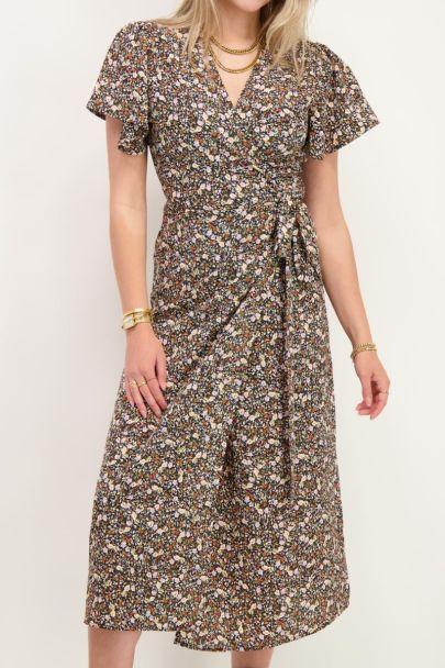 Midi jurk met multikleur bloemenprint