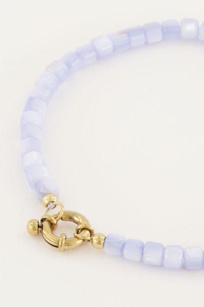 Lichtblauwe kralen armband met slotje | My Jewellery