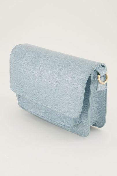 Lichtblauwe schoudertas croco print