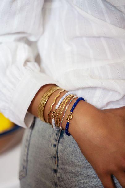 Lichtblauwe kralen armband met slotje