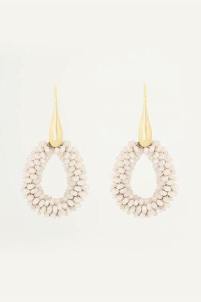 Lichtroze oorhangers klein kristal, kristallen oorbellen