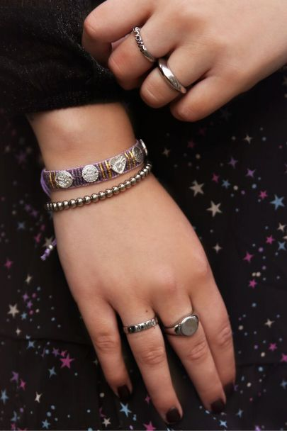 Lilac bracelet with charms & beads