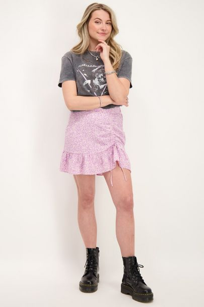 Lilac skirt with floral print & drawstring