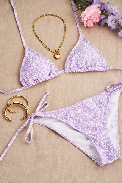 Lila triangel bloemen bikini set