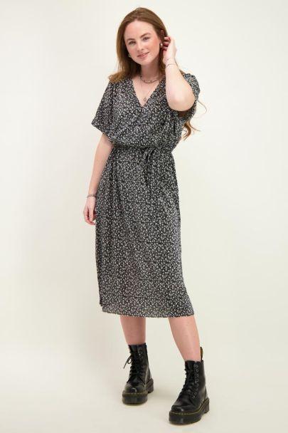 Black midi dress with print & pleated
