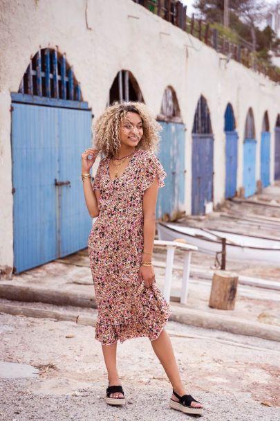 Midi jurk met retro bloemenprint