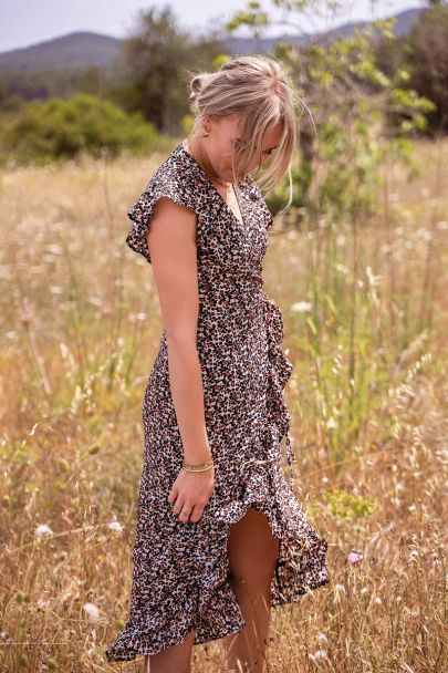 Midi jurk met bloemenprint & ruffle