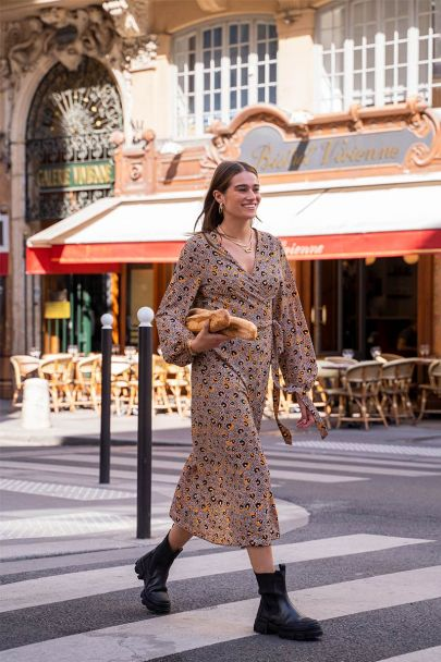 Multi-coloured leopard print midi dress