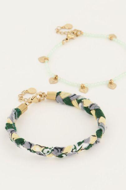Mintgroene gevlochten armbanden set | My Jewellery