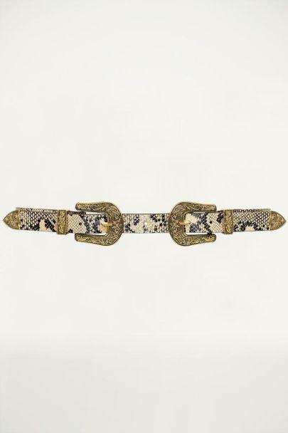Bruine riem dubbele gesp, riem dubbele gesp My Jewellery