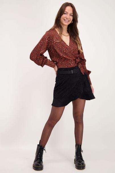 Black wrap skirt with corduroy