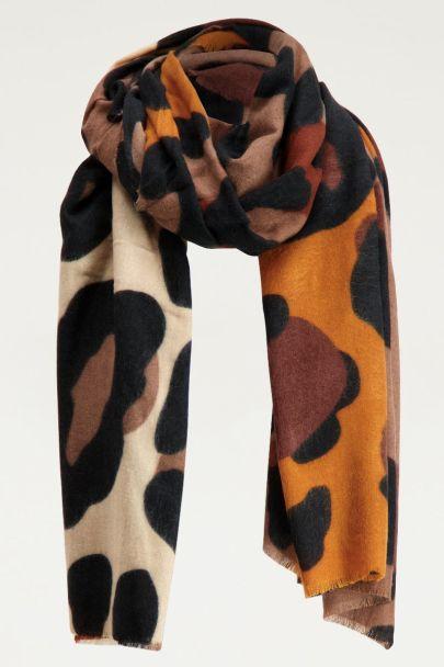 Sjaal bruine panterprint, panterprint sjaal