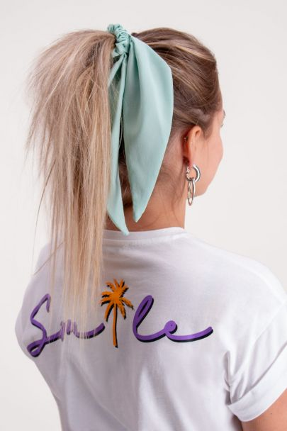 Mint green scrunchie with ribbon