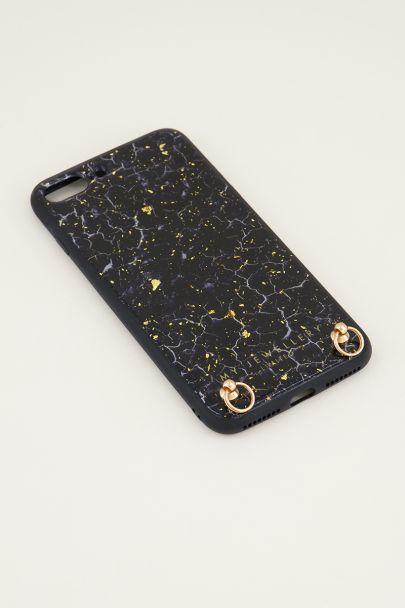 Blauw telefoonhoesje marmer & gouden glitters | Telefoonhoesje met koord My Jewellery