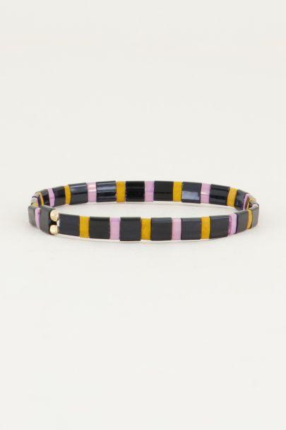 Zwarte armband met gekleurde kralen | Kralen armband My Jewellery