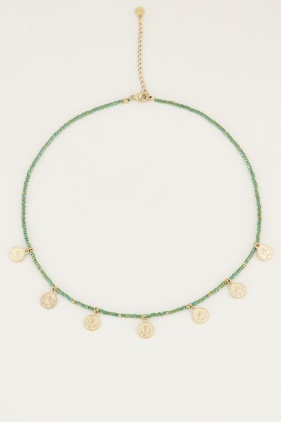 Necklace with green beads and coins, beaded necklace
