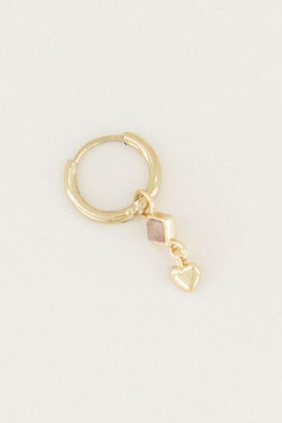 One piece oorring rose quartz & hart, rozenkwarts oorbel