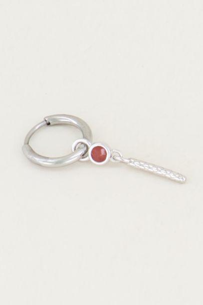 One piece oorring Red Jade & staafje, oorbel met edelsteen