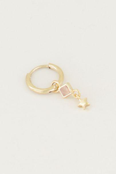One-piece earring Rose Quartz & star