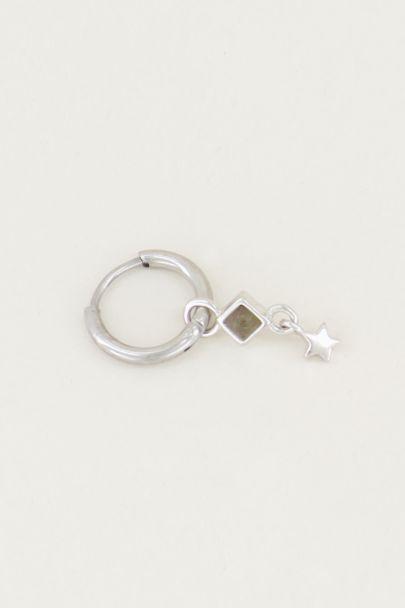 Einteiliger Ohrring mit Labradorit und Stern, Ohrring mit Stern