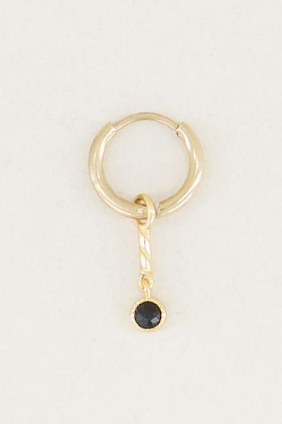 One-piece earring Black Onyx charm, earrings