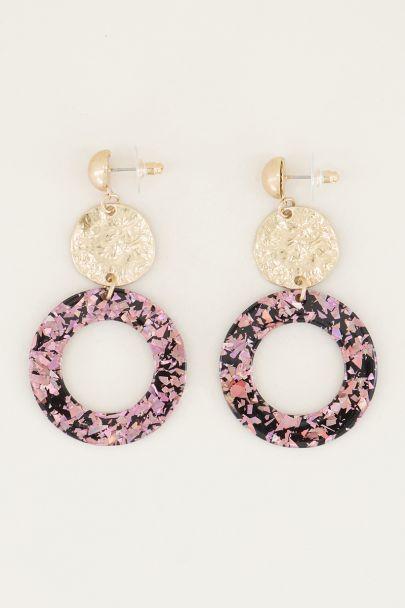 Oorhangers rond met roze glitters