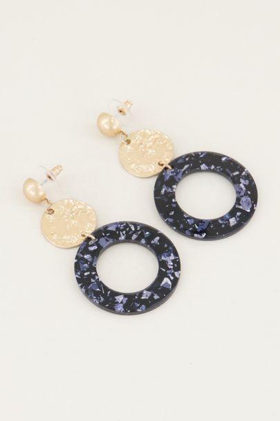 Hoop drop earrings with blue glitter | blue earrings My Jewellery