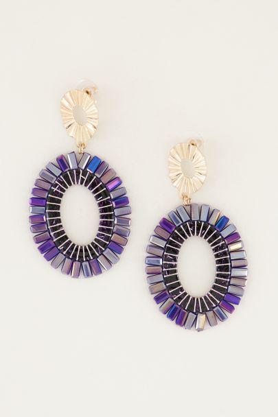 Oval drop earrings with purple beads, large earrings My Jewellery