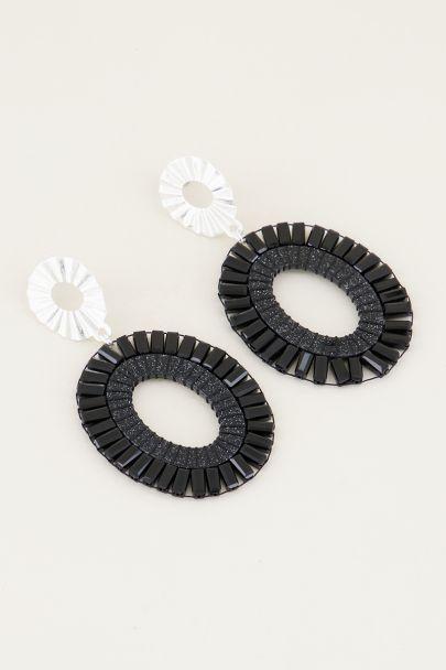 Ovale oorhangers zwarte kralen | Statement oorbellen My Jewellery