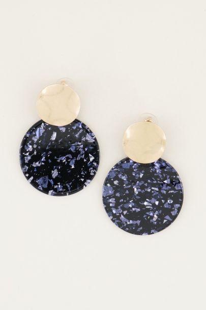 Oorhanger cirkel glitter blauw | Statement oorbellen My Jewellery