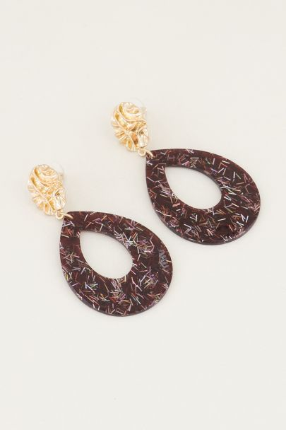 Bruine oorhangers druppel met glitters, grote oorbellen My Jewellery