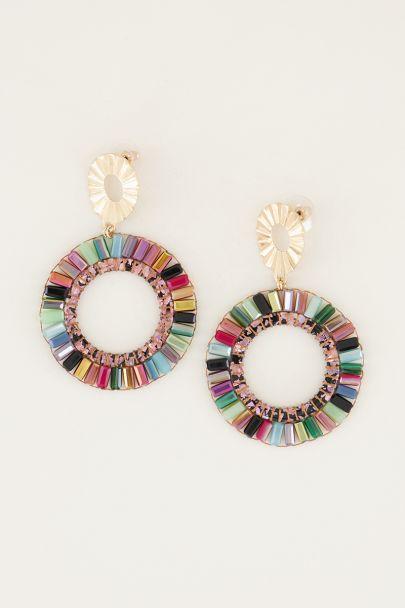 Oorhangers kralen rond multikleur   Statement oorbellen My Jewellery
