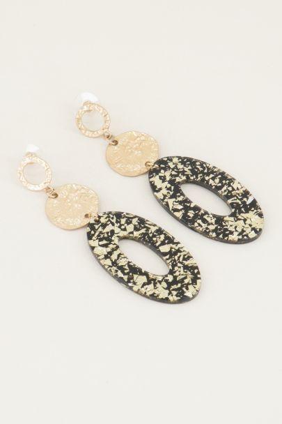 Oorhangers ovaal goud glitters | Statement oorbellen goud My Jewellery