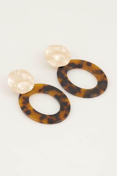 Bruine oorhangers ovaal, statement oorbellen My Jewellery