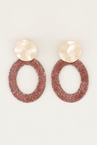Oranje oorhangers ovaal met glitters, grote oorbellen My Jewellery