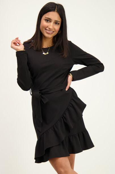 Black wrap sweater dress