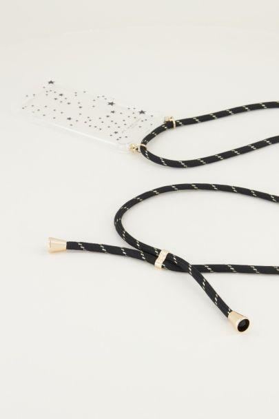 Telefoonkoord zwart met goud | telefoonketting My Jewellery