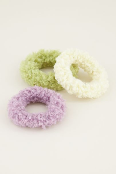 Groene & lila teddy scrunchie | Haar elastiek My Jewellery