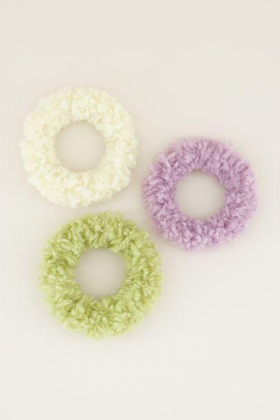 Groene & lila teddy scrunchie set